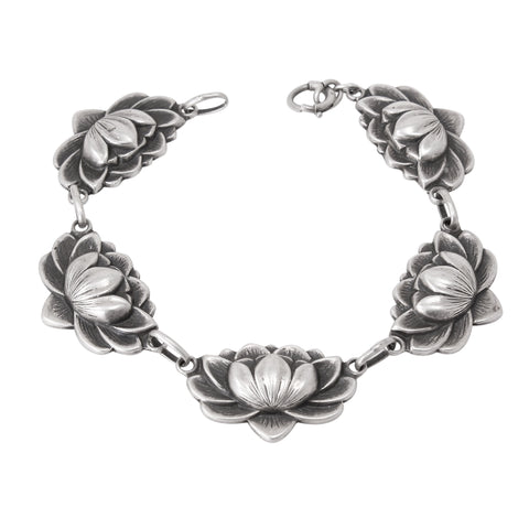 Danecraft Sterling Water Lily Flower Bracelet Front