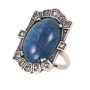 Art Deco Blue Jasper Sterling Art Deco Ring