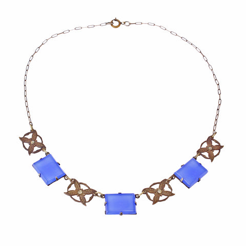 Blue Chalcedony Glass Art Deco Brass Necklace