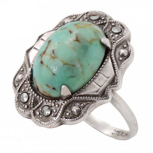Art Deco Turquoise Glass Cabochon Sterling Ring
