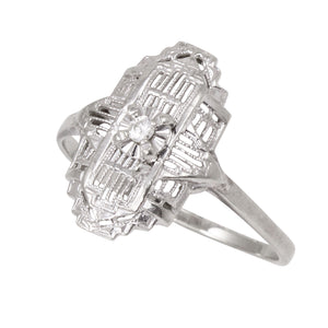 Art Deco Diamond 14k White Gold Filigree Ring