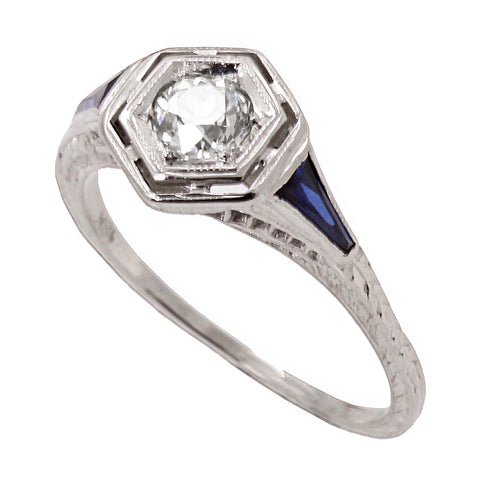 Art Deco Diamond and Sapphire 18k White Gold Filigree Ring Front