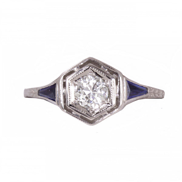 Art Deco Diamond and Sapphire 18k White Gold Filigree Ring Full