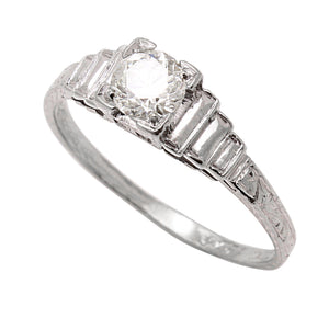 Art Deco  .49ct Diamond 18k White Gold Ring Full