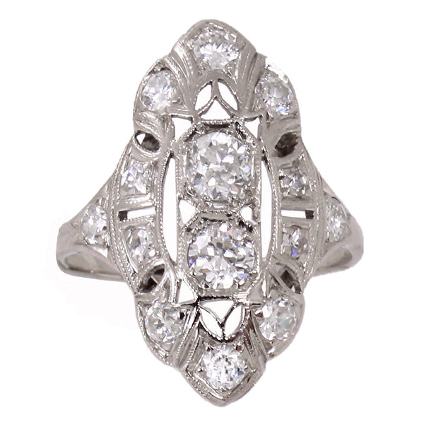 Art Deco Diamond and 18k White Gold Ring Front Full