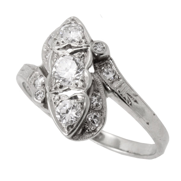 Vintage .70 cttw Diamond and 14k White Gold Bypass Ring Side
