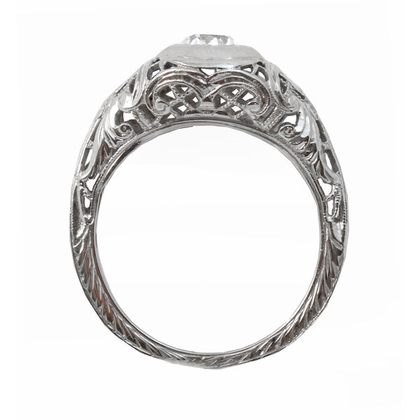 Art Deco Vintage .42 ct Diamond & 14k White Gold Filigree Ring Full