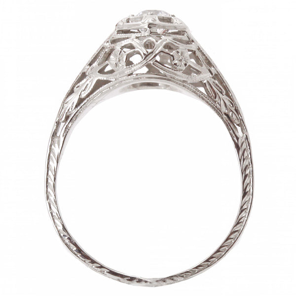 Art Deco Vintage .34 ct Diamond & 18k White Gold Filigree Ring Side