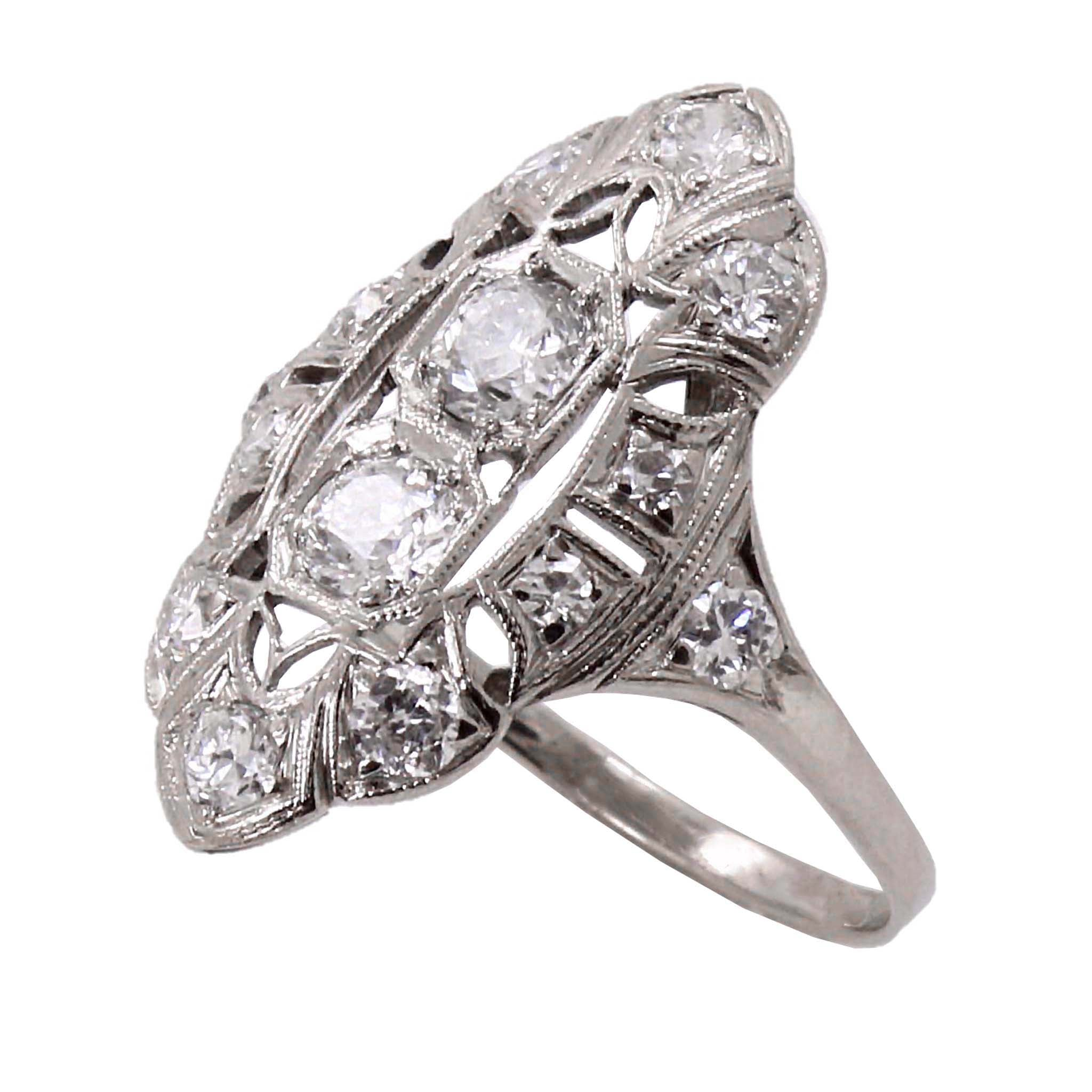 Art Deco Diamond and 18k White Gold Ring Front