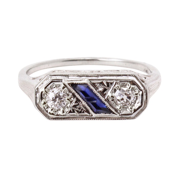 Art Deco Double Diamond and Sapphire 18k Gold Ring Front