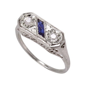 Art Deco Double Diamond and Sapphire 18k Gold Ring Full