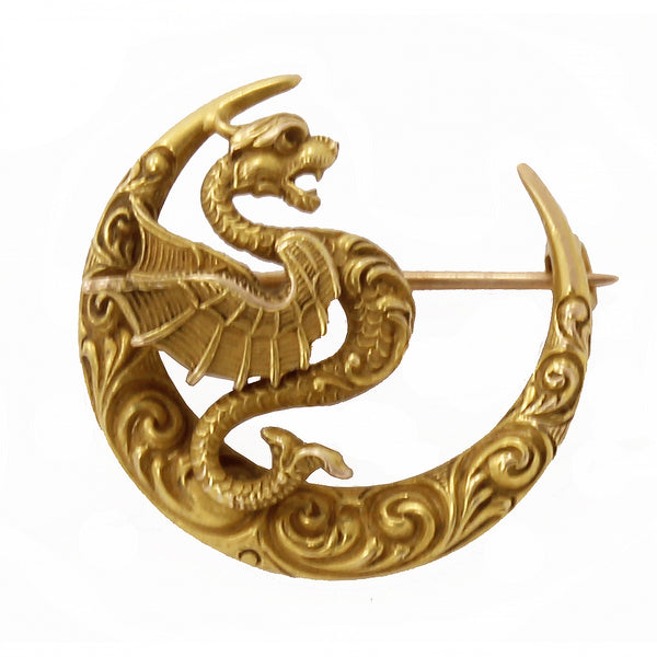 Art Nouveau Antique 14k Gold Winged Serpent Dragon Pin Brooch by Link & Angell Front