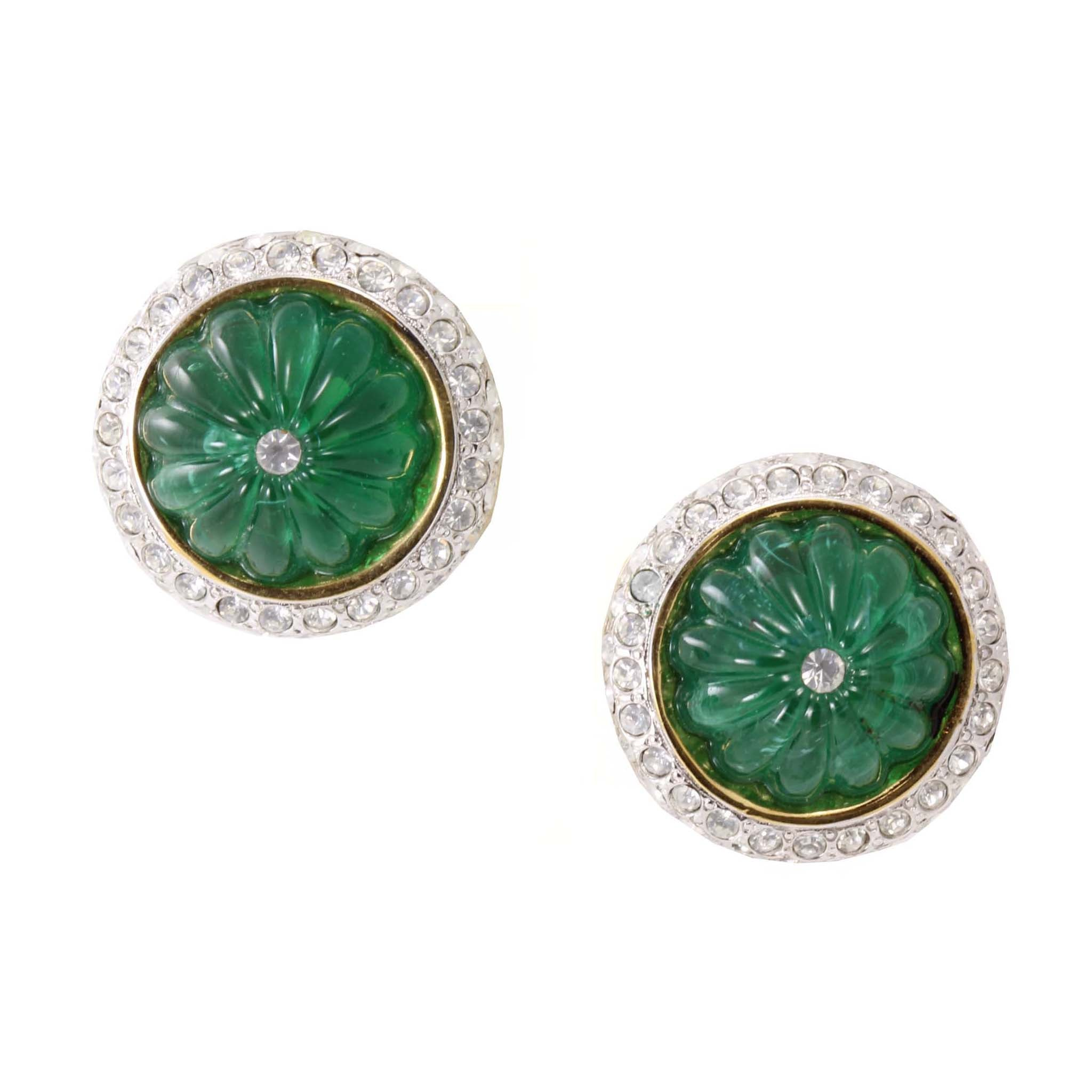 Emerald Green Glass Button Earrings Front