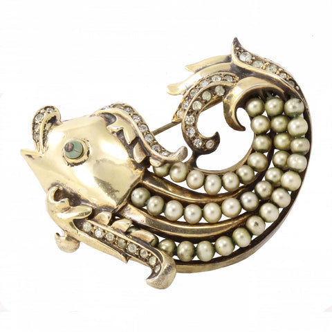 Eisenberg Original Rhinestone and Sterling Vermeil Fish Pin Front