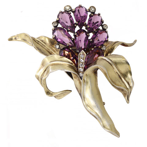 Eisenberg Original Sterling Amethyst Glass Orchid Fur Pin Clip Front