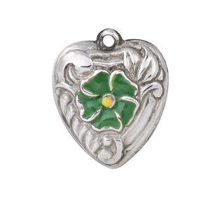 Vintage Green Enamel Flower Sterling Puffy Hear Charm Front