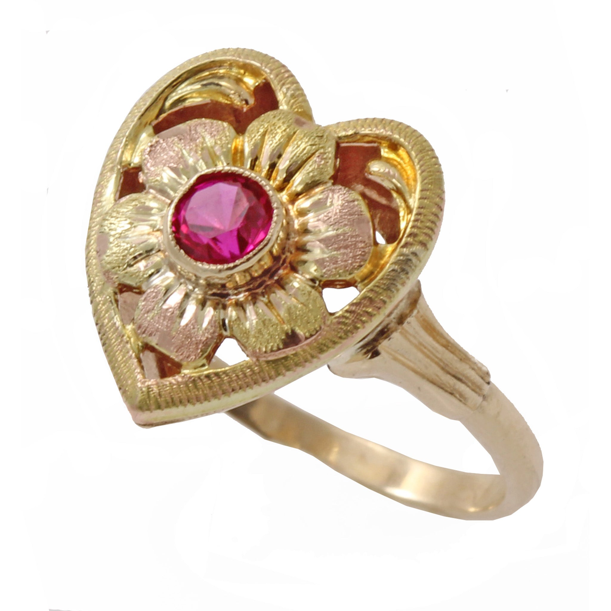 Vintage 10k Rose and Yellow Gold Lab Ruby Heart Ring Front