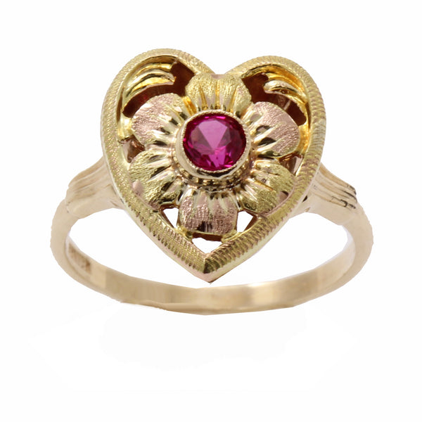 Vintage 10k Rose and Yellow Gold Lab Ruby Heart Ring Close