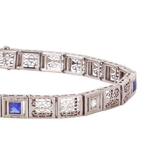 Art Deco Diamond and Sapphire Line Bracelet Front