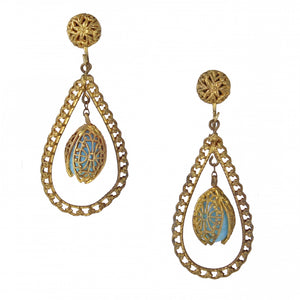 Filigree Blue Glass Earrings