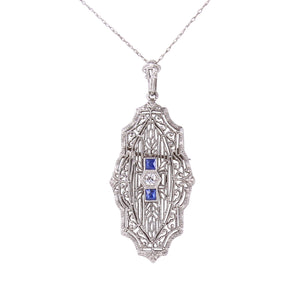 14k Gold Filigree Diamond and Sapphire Pendant
