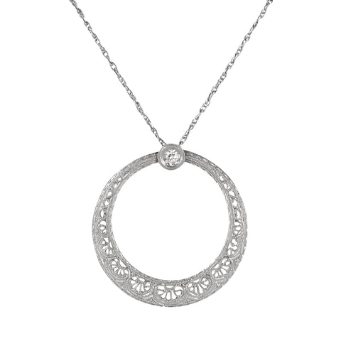 14k White Gold Filgree Diamond Art Deco Pendant Front