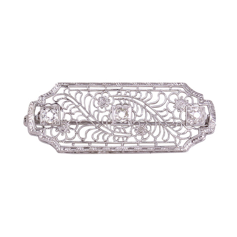 Floral 10k White Gold Filigree and Diamond Pin