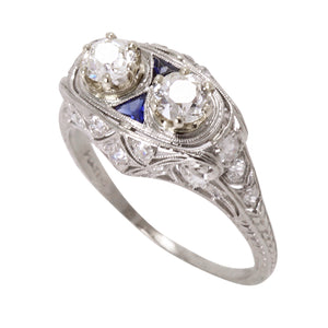 Art Deco Platinum Filigree 1.16 cttw Diamond and  Sapphire Ring