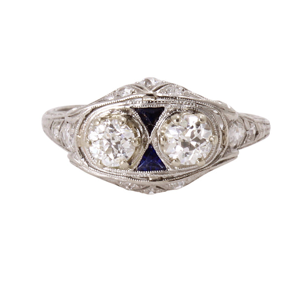 Art Deco Platinum Filigree 1.16 cttw Diamond and  Sapphire Ring Front