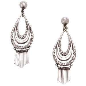 Vintage Sterling Silver Fringe Earrings Front
