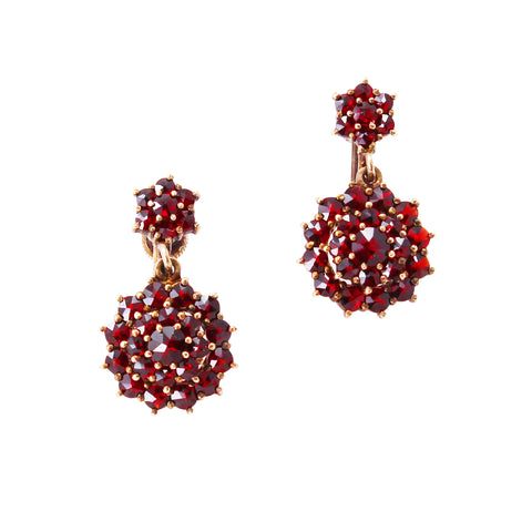 Victorian Bohemian Rose Cut and Cabochon Garnet Silver Earrings Front