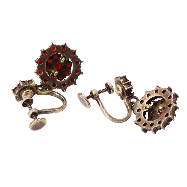 Victorian Bohemian Rose Cut and Cabochon Garnet Silver Earrings Back