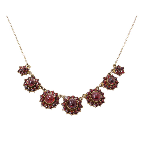 Victorian Bohemian Rose Cut and Cabochon Garnet Silver Necklace Front