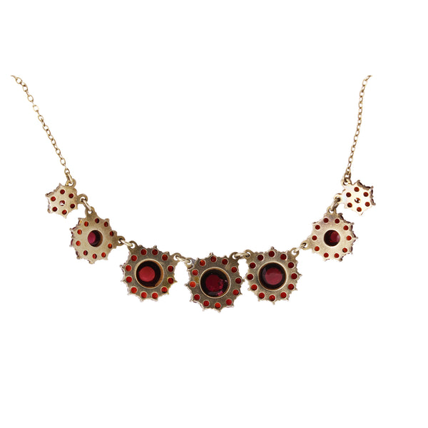 Victorian Bohemian Rose Cut and Cabochon Garnet Silver Necklace Back