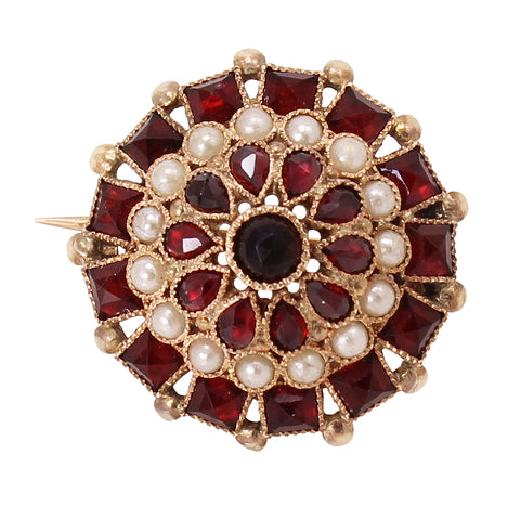 Petite Netherlands Garnet Glass and 14k Dutch Pin Front