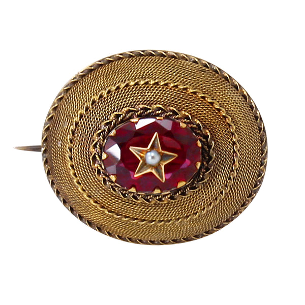 Victorian 14k Yellow Gold and Garnet Pin/Pendant