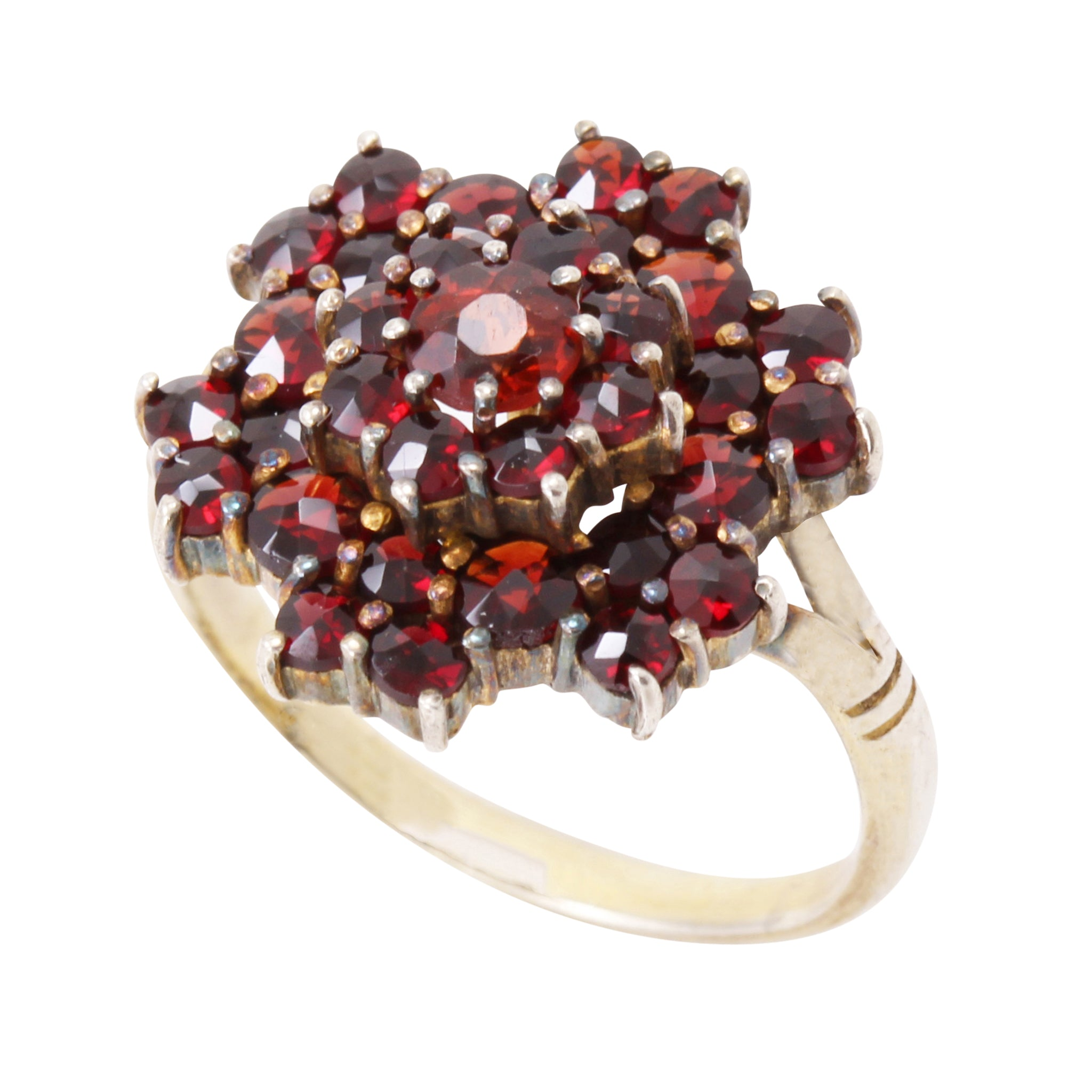 Victorian Bohemian Rose Cut and Cabochon Garnet Silver Ring