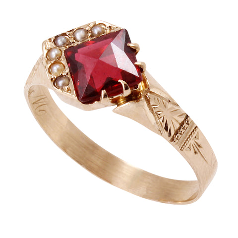 Victorian Rose Cut Garnet and Pearl 14k Gold Ring