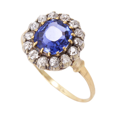 Victorian Ceylon 2.35ct Sapphire and Diamond 14k Gold Ring