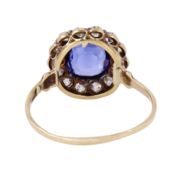 Victorian Ceylon 2.35ct Sapphire and Diamond 14k Gold Ring Back
