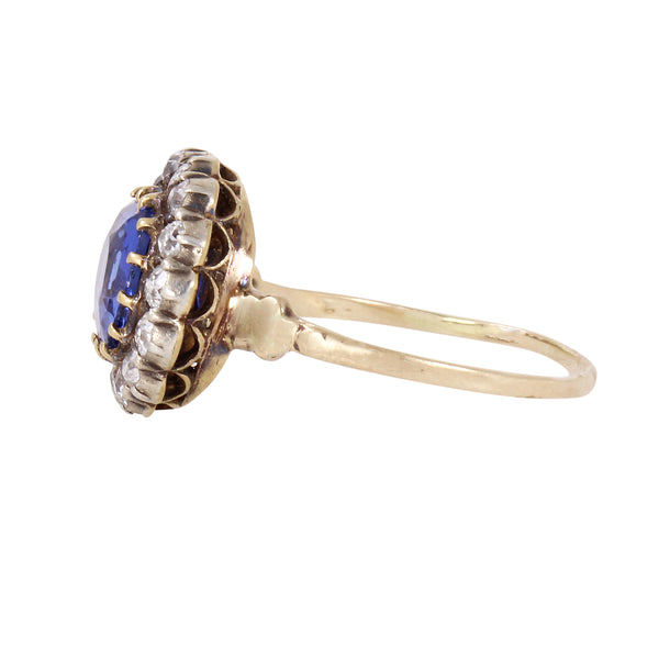 Victorian Ceylon 2.35ct Sapphire and Diamond 14k Gold Ring Side