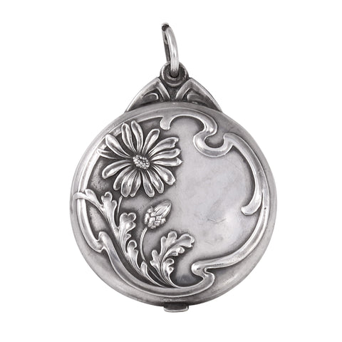 Jugendstil Art Nouveau Silver Flower Mirror Locket Pendant