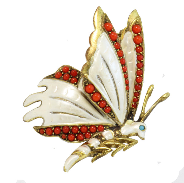 Germany Enamel and Glass Cabochon Butterfly Pin/Brooch Front