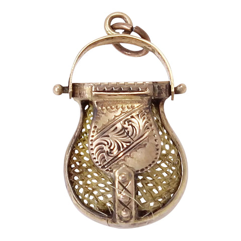 Victorian 12k Gold Hair Purse Pendant Charm/Fob Front