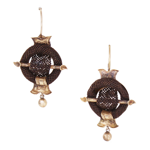 Victorian 14k Gold & Woven Hair Earrings Front