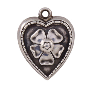 Forget Me Not Flower Sterling Puffy Heart Vintage Charm Front