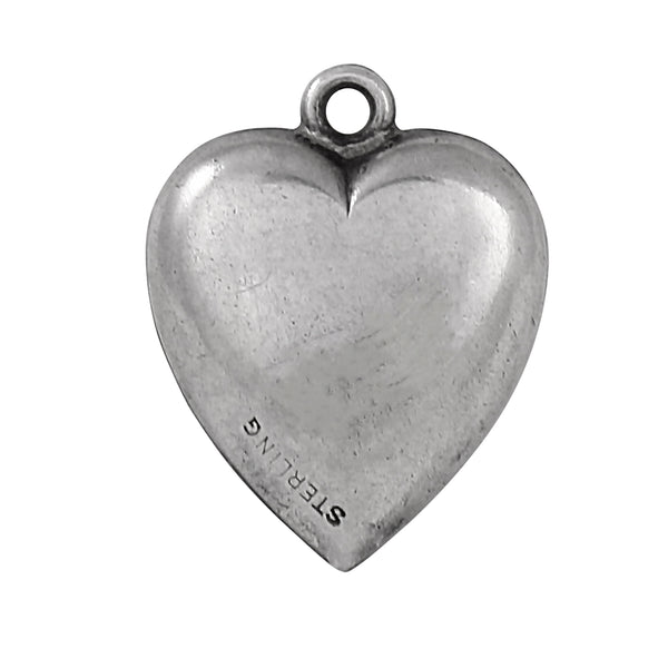 Forget Me Not Flower Sterling Puffy Heart Vintage Charm Back