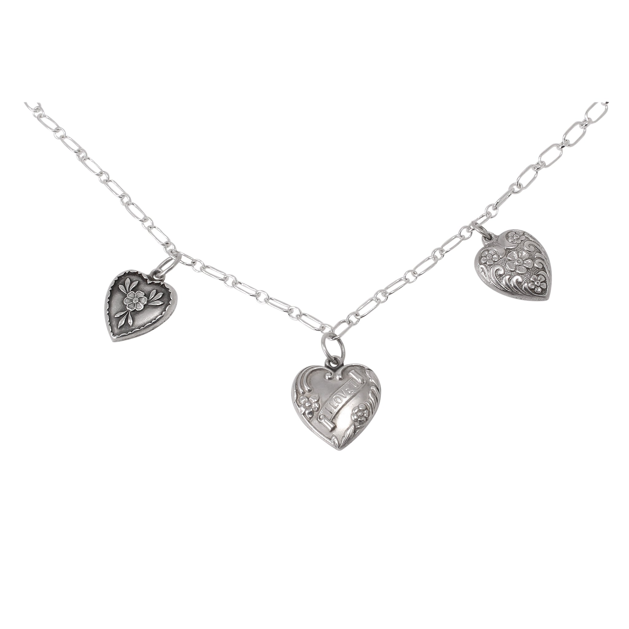 Vintage Sterling Puffy Heart Charms Symbol of Love Necklace