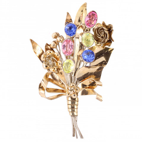 Hobe 14k and Sterling Rhinestone Bouquet Pin Front