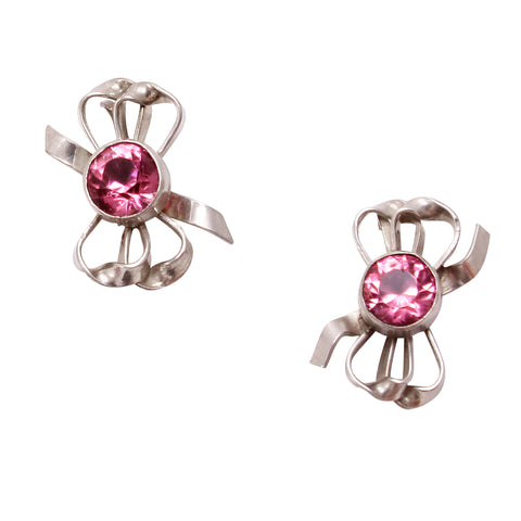 Pretty in Pink Rhinestone Sterling Bow Earrings Front